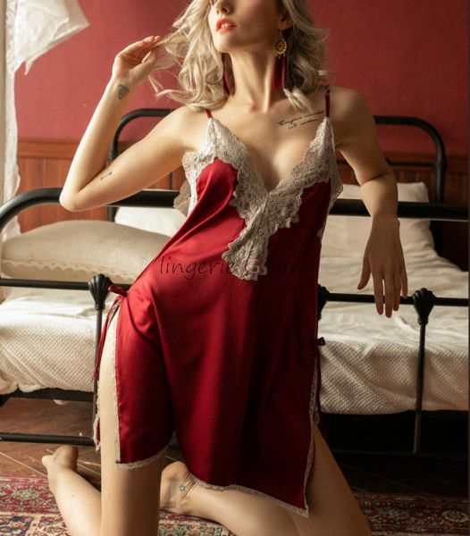 Racy Lace Helm Red Chemise Nightie