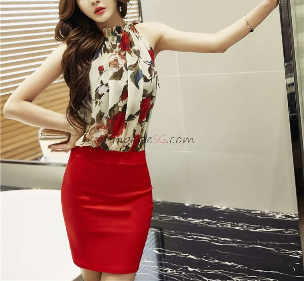 White Mock Neck Sleeveless Top with Red Pencil Skirt