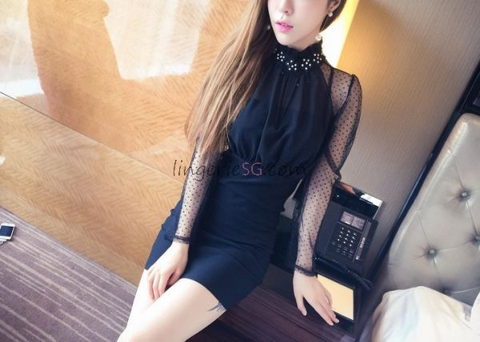Black Halter Sheath Dress with Polka Dots Sleeve