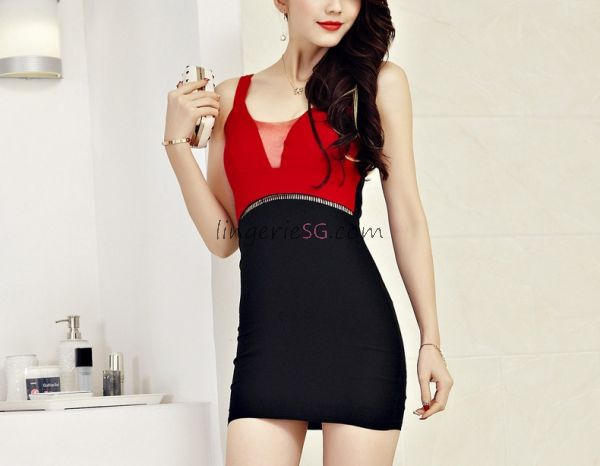 Dual Red Black Tone Tight Fitting Bodycon Dress
