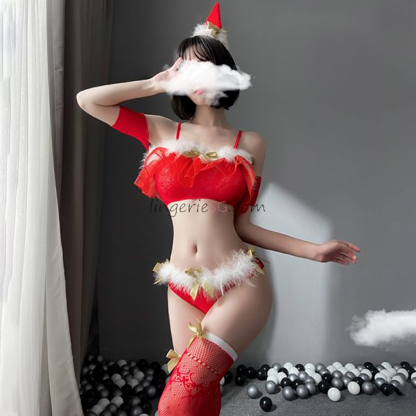 Red Sexy Two Piece Xmas Lingerie