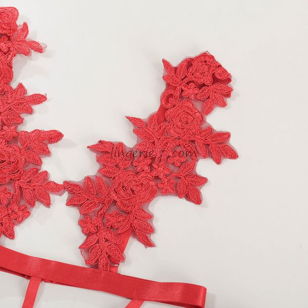 Floral Caged Red Teddy